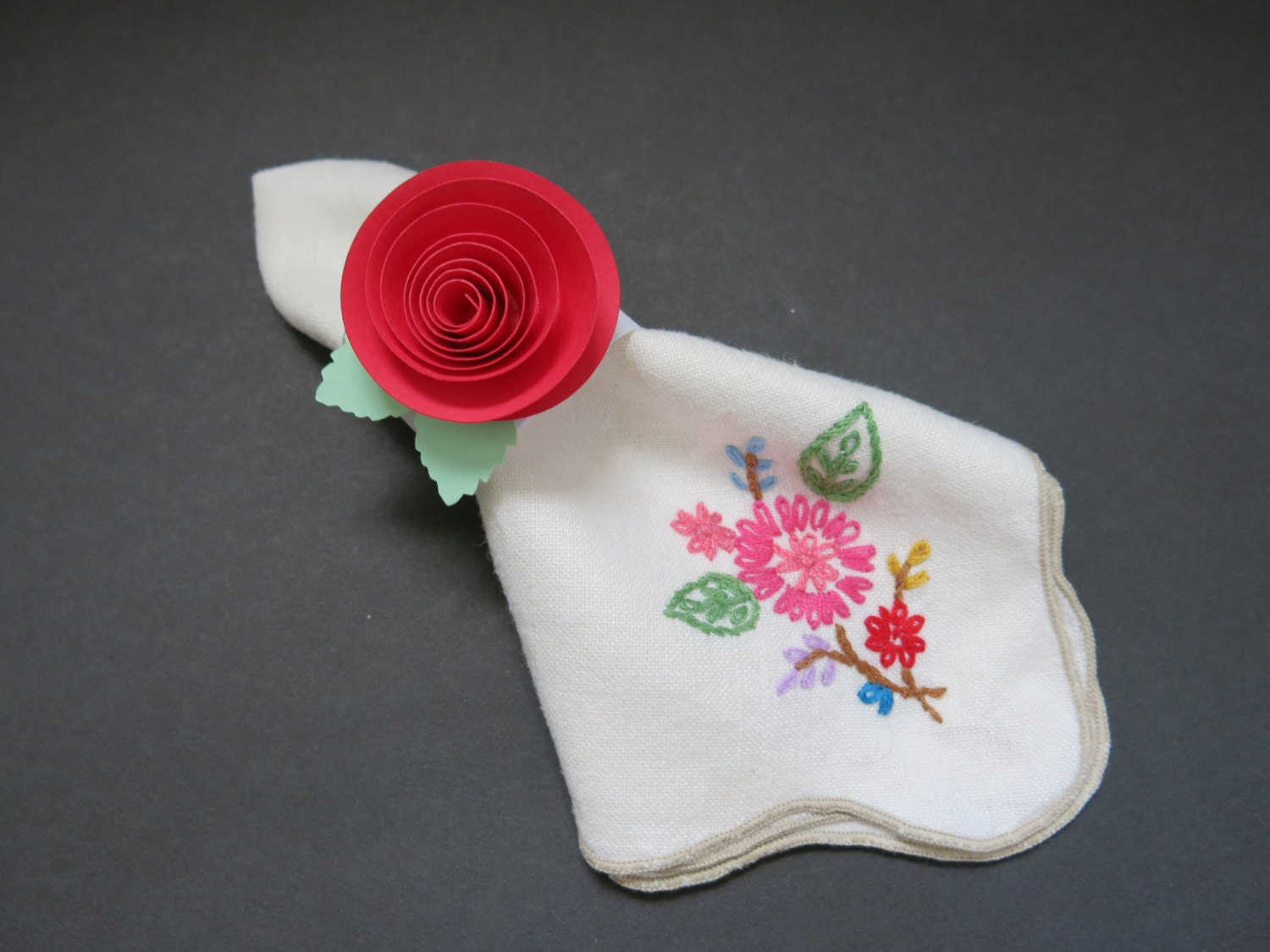 67 Best Images About Napkin Rings Menu Cards On: Red Roses Napkin Rings Set Of 10 Paper Flower Table