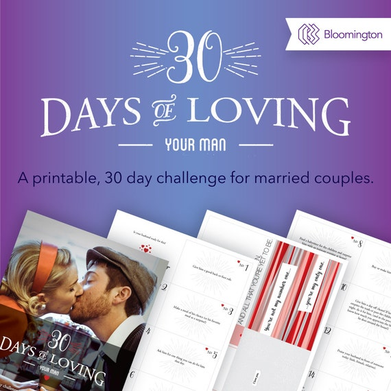 30 Days of Loving Your Man / Marriage Challenge Printable / Date Night Ideas / Romance Cards / Valentines Cards
