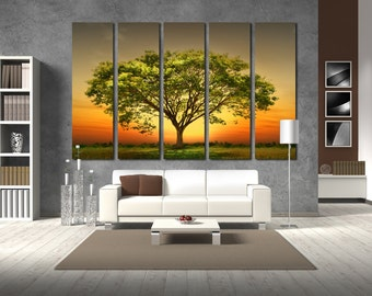 Canvas Art Tree Print Large Canvas Print Savanna  Nature Stretched Canvas Interior Décor  Big Tree Wall Art Gift for Home Decoration