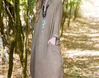 Oversize button down collared Kaftan maxi dress - Long sleeve taupe Kaftan dress with buttons