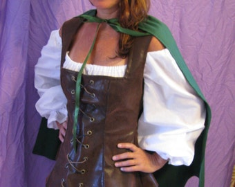 Robinhood/Peterpan costume-3 piece outfit-dress, vest, cape  with hat