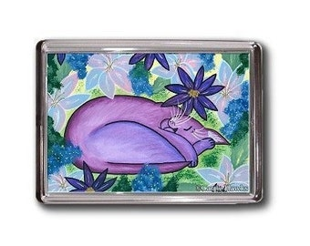 Purple Cat Magnet Dreaming Sleeping Flowers Fantasy Cat Art Framed Magnet Gifts For Cat Lovers