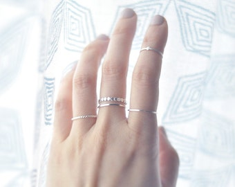Thin Square band delicate sterling silver ring - minimalist jewelry - simple stacking ring - plain thin band - midi ring - Nera 0.8mm