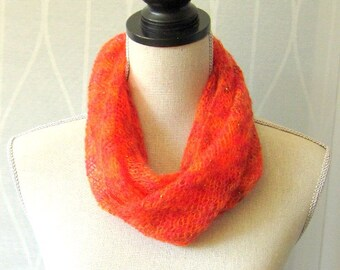 Women Hand Knit Infinity Scarf with Beads - Red Cinnamon