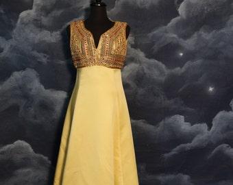 Vintage 1960s Designer Ceil Chapman Beaded Evening Maxi Gown- Size Large