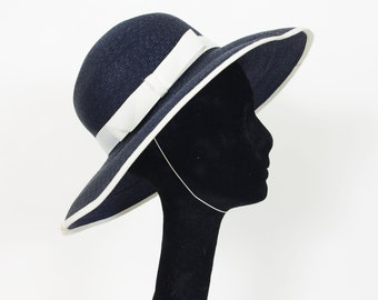 Philip Somerville - Milliner to the Queen- 1980's Vintage Navy White Ribbon Straw Wide Brimmed Hat