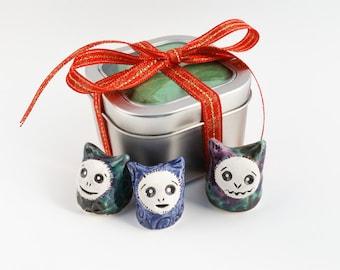 Ceramic Monster Figurine, Trio of Cute Clay Imps, Handmade