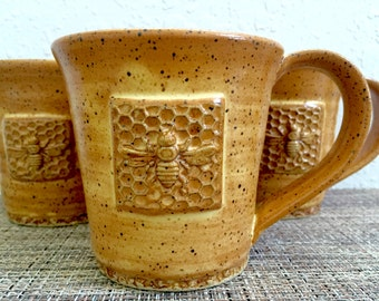 Honeycomb Bee Coffee Cup - Ceramic Bee Mug - Honey Bee with Flowers - Wheel Thrown Stoneware
