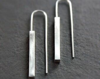 Silver Bar Earrings, Simple, Modern, Minimalist Jewelry, Geometric Earrings