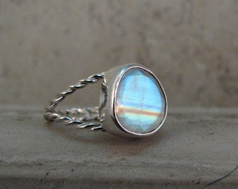 Rainbow Moonstone Statement Ring Sterling Silver with Twist Band - Moonstone Cocktail Ring - Size 7.5 - June Birthstone Ring - Gift for Her