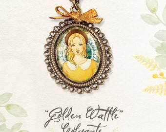 Golden Wattle - Cameo Necklace
