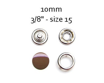 25 sets Brown Snap Fasteners 10MM. capped snaps. clothes fasteners. no sew snap buttons. metal prong snaps. metal diaper snaps #700109
