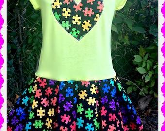 girls dress Autism awareness Puzzle pieces 2T 3T 4T 4/5 6/6X 7/8 10/12 14/16