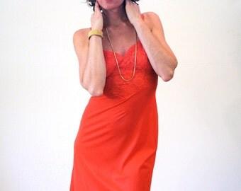 Orange Pop Lingerie Slip Dress, 50s Vanity Fair Slip S 32, Blood Orange Red Nylon Slip, NOS Deadstock Slip, 1950s Slip