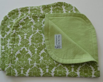 Flannel Burp Cloth Green Damask Burp Cloth