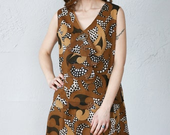 SALE- 1960s Brown Print Dress