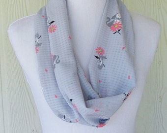 Cats and Flowers Infinity Scarf, Gray and Pink, Gray Checks,  Fashion Scarf, Necklace Scarf, Women's Scarves, Eclectasie
