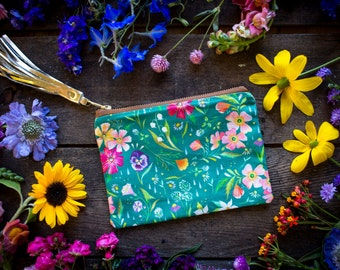 Turquoise Wildflower Pouch - Handmade Bag - Katie Daisy Painting