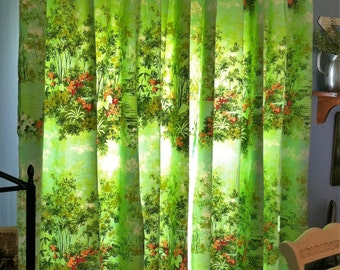 Vintage Mid-Century Floral Pinch Pleats Curtains Drapes/Shabby Cottage Floral Curtains/Green Floral Curtains/Cottage Drapes Pair Panels