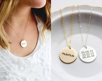 """7/8"""" Engraved Disc Necklace - Personalized Gift for Mom, Disc Necklace, Date Necklace, Personalized Gift for Her, Wedding Initial Date Gift"""