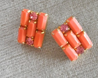 Sparkling Vintage WEISS Rhinestone Earrings in Melon Orange and Pink