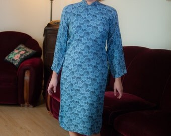 Vintage 1940s Dress - Stunning Cornflower Blue and Black Floral 40s Cheongsam Dress with Dolman Sleeves and Mandarin Collar