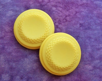 HuGE Yellow Buttons 36mm - 1 3/8 inch Bright Buttercup Yellow Vintage Plastic Buttons - PAiR of 2 VTG Yellow Retro Mod Flower Buttons PL019