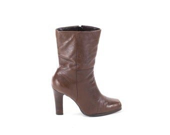Size 9 Brown Boots Square Toe Leather Mid Calf Boots Stacked Heel Boots