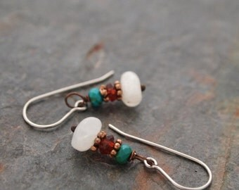 Turquoise, Garnet and Moonstone Earrings