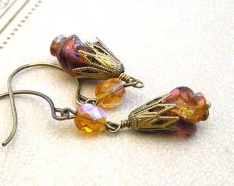 Fall Earrings, Lampwork Bead Earrings, Aurora Red, Yellow Gold, Orange Earrings