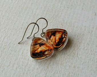 Marbled Dangle Earrings- Glass Titanium Earrings- Made from Upcycled Paper and Glass- Rustic Titanium Earrings