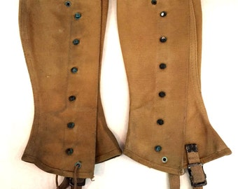 Vintage gaiters WWII gaiters Canvas Gaiters antique gaiters military gaiters Boot Covers foot covers leg spats Military Uniform tan gaiters
