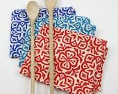 Moroccan Tile Print Tea Towel in Red