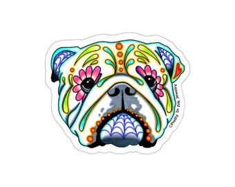 Day of the Dead English Bulldog Sticker - Sugar Skull Dog Decal