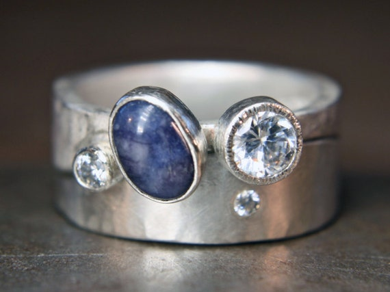 Recycled sterling silver curvy stacking ring set. Ethical lab grown cubic zirconium & vintage scapolite. UK size P 1/2