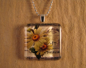 """White and Yellow Daisy Flower Square Glass Pendant with 24"""" Ball Chain Necklace Floral Jewelry."""