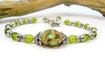 Handmade Lampwork Bead Bracelet, Czech Glass Beads, Cuff Bracelet, Purple and Green Beads, Minimalist Bracelet