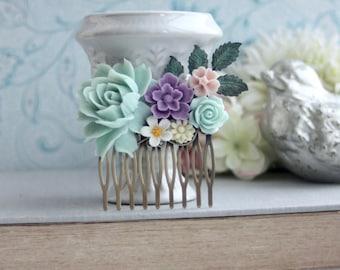 Mint Wedding Comb, Soft Mint Blue Rose Flower, Lavender Purple, Pink, Mint, Ivory, Verdigris Brass Leaf Hair Comb, Rustic Bridesmaids Gift