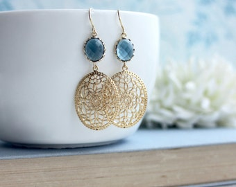 Wedding Earrings, Navy Blue Gold Earrings, Bridesmaids Gift, Blue Earrings, Blue Oval Filigree Modern Gold Wedding Jewelry, Something Blue