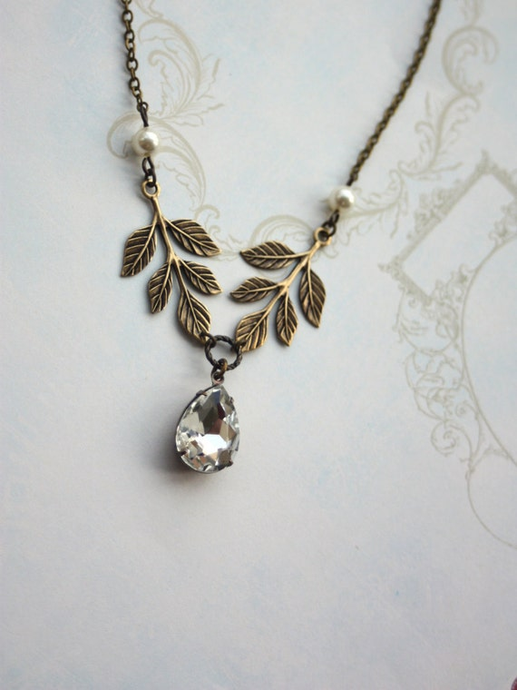 A Clear Vintage Glass Pear Jewel with Oxidized Brass Leaf Necklace.  Romantic, Elegant, Feminine. Bridal Gift Party