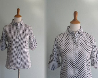 Vintage Navy and White Polka Dot Half Sleeve Shirt - 60s Blue Dot Blouse - Vintage 1960s Blouse M L nos nwt