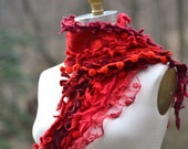 Cashmere textured red SCARF WRAP with lace ruffle, felt flower and pom poms