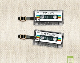 Printed Personalized Luggage Tags Retro Mixtape Cassette Tape Version  Personalized Custom Single Tag or Set Available