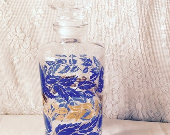 Vintage French Decanter Glass Leaves Blue Gilded SALE