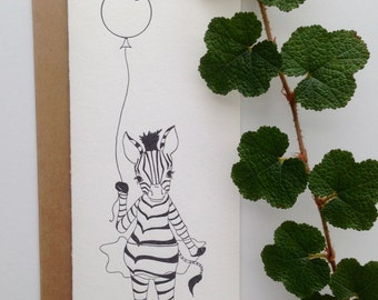 Set of 6 - Letterpress Greeting Card - Zebra with Balloon