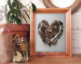Valentines Day gift, heart shaped art, photography print, woodland love, pine cones, birch tree branch,rustic love,gifts for him,nursery art