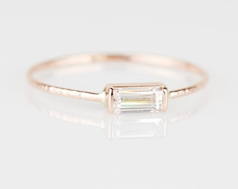 Delicate 14k Gold Step Cut Baguette Cubic Zirconia Stack Ring - Solid 14k Rose Gold Stacking Ring with Step Cut Stone