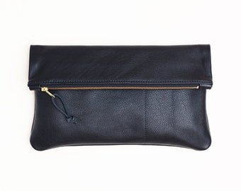 LARGE Leather Clutch, OVERSIZED Black Leather Clutch, Large Cross Body Clutch, Convertible Fold Over Zipper Clutch, Travel Cross Body Bag