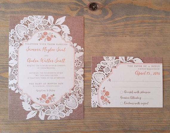 Country Wedding Invitation, Lace and Burlap Wedding Invitations, Barn Wedding Invitation,
