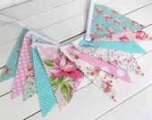 Baby Bunting Banner Flags, Nursery Decor, Baby Shower, Shabby Chic, Photo Prop, Cake Smash - Pink, Aqua Blue, Shabby Chic, Flowers, Roses